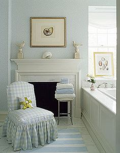 Love the soft colors and that gingham chair, perfect cottage retreat!