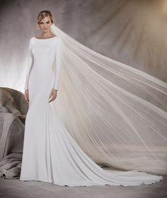 Alana - Robe de mariée à taille basse, en crêpe, décolleté bateau