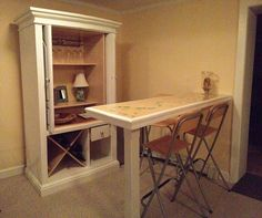 Re-purposed TV Armoire wine bar, seashell bar and thrift store  barstools