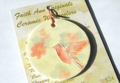 HUMMINGBIRD handmade ornament ceramic OOAK by FaithAnnOriginals, $24.00
