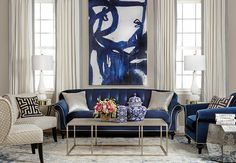 Indigo Bloom Framed Leftbank Art - Home Design Inspiration Elegant Living Room, Formal Living Rooms, My Living Room, Interior Design Living Room, Home And Living, Living Room Designs, Living Room Decor, Dining Room, Modern Living