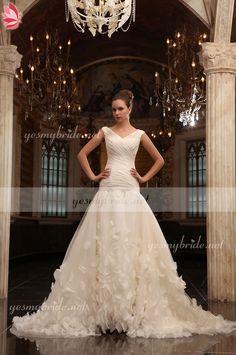 Sleeveless Criss-cross V-neck Drop Waist Petals A-line Wedding Dress $460.00 wedding bride bridalgowns gowns weddingdress