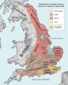 Settlements ca. 600 CE Britain when Germanic had developed into what we call Old English or Anglo-Saxon, covering the territory of most of modern England. History Of England, Uk History, European History, British History, History Facts, World History, Scotland History, Asian History, European Map