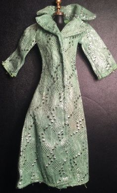 Vintage Mod Barbie Size Clone Green Silver Brocade Coat Hong Kong 1960's