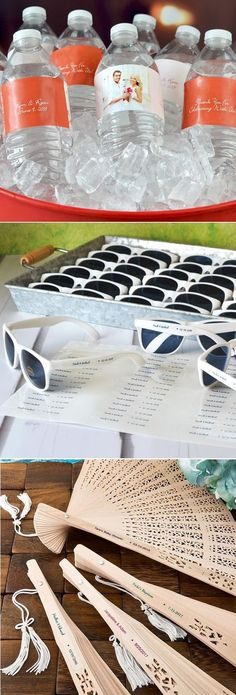 Add fun and personal style to your outdoor summer wedding with favors and decorations to keep guests cool and comfortable during your ceremony and reception. Quench guests' thirst with ice cold bottles of water personalized with custom printed, waterproof