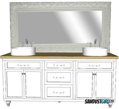 Double vanity - free and easy plans from https://sawdustgirl.com.