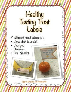 Upper Grades Are Awesome: Fun Labels for Testing Treats