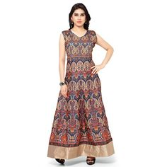 Kapadewala New Latest Orange Printed Banglore Silk Semi Stitched Free Size  XXL Party Wear Gown for Women 989865891