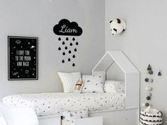 Moon, Clouds, and Stars Wall Decal – Vinyl Wall Sticker, Nursery Decor, Kids Decals – Colorful Baby Rooms Baby Wall Decals, Nursery Decals, Name Stickers, Vinyl Wall Stickers, White Kids Room, Baby Room Colors, Custom Decals, Kid Names, Baby Rooms