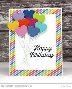 Handmade card from Julie Dinn featuring Heart-Shaped Balloon Die-namics #mftstamps