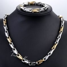 6fd75d2594b Trendsmax JEWELRY SET 8.5mm Mens Chain Cable Link Yellow Gold Silver Tone  Stainless Steel Necklace Bracelet Lobster Clasp KS186-in Jewelry Sets from  Jewelry ...