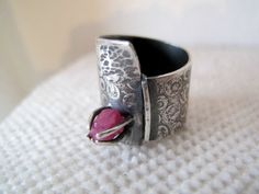 OOAK  wide band ring with rough ruby size 7 by ZizouArT on Etsy