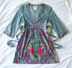 FLYING TOMATO Blue Cotton Floral Print V Neck Tunic Dress Tie Back Waist S 4 6