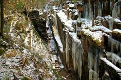 90 foot ice walls of Flume Gorge. Lincoln NH