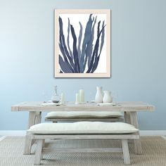 Hamptons style, big canvas art, statement piece, blue and white, seaweed print, ocean decor, nautical decorating - Seaweed 1 blue large