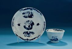 *FOR SALE* Click to read about the history and see more detailed images*GOOD EARLY WORCESTER MOLDED BLUE & WHITE TEABOWL & SAUCER Fisherman and Willow Pavilion Pattern (England, c1755-60)