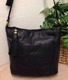 Cabin Creek Black Floral Embossed Leather Organizer Shoulder Handbag Bag  Tassel   eBay 0750ac571a