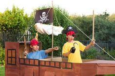 Pirate ship decoration made out of cardboard! Perfect for an outdoor movie party - A unique movie night theming idea from Southern Outdoor Cinema.