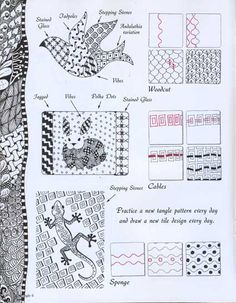 Zentangle 6 -I recommend the entire line, but borrow from a friend if you can. Tangle Doodle, Tangle Art, Zen Doodle, Doodle Art, Zentangle Drawings, Doodles Zentangles, Doodle Drawings, Doodle Designs, Doodle Patterns