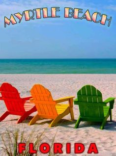 Myrtle-Beach-Seashore-Florida-United-States-Travel-Art-Advertisement-Poster