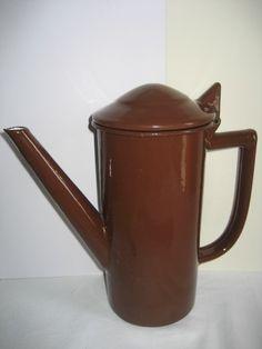 cafetière tôle émaillée marron années 1920/1940
