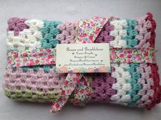 Crochet Baby Blanket. Handmade Baby Girl Granny Square Blanket. Baby Shower Gift in Pink