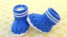 knitting striped baby booties - YouTube