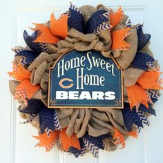 A personal favorite from my Etsy shop https://www.etsy.com/listing/292545189/chicago-bears-wreath-orange-and-blue