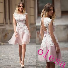 White Lace Applique Short Homecoming Prom Gowns Crew Neck Lace-Up Backless Graduation Dresses Pleating Knee-Length New Arrival