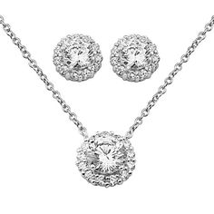 ".925 Sterling Silver CZ Halo Stud Earrings and Matching Pendant-Necklace Set with 0.9mm Cable Rolo Chain Lobster Claw Clasp - 16""+2"" Inches Extension: Jewelry: Amazon.com $42.95"