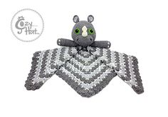 Rhino Safety Blanket. Large Lovey. Ready To Ship Hand by CozyHat