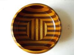 Striped Vintage Wood Bowl : Lathe Turned Salad Bowl