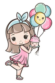 Cute Cartoon Pictures, Cute Cartoon Girl, Cute Images, Cute Pictures, Art Drawings For Kids, Drawing For Kids, Easy Drawings, Cute Kawaii Drawings, Cartoon Drawings