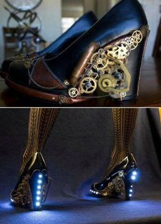 Awesome steampunked Doctor Who themed shoes. (I don't see the DW theme in these shoes, but they are awesome and I like steampunk!)