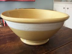 early old yellow ware bowl wide white band HUGE 16 inches large 19th century | eBay