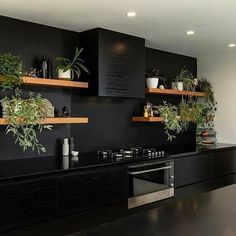 Dream House Interior, Dream Home Design, Modern Kitchen Design, Interior Design Kitchen, Black Kitchens, Home Kitchens, Black Interior Design, Cuisines Design, Küchen Design