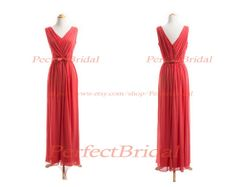 V Neck Coral Bridesmaid Dress,Long Bridesmaid Dress Coral,Long Coral Bridesmaid Dress,Chiffon Bridesmaid Dress/Prom Dress BD6047