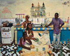 "Liu Xiaodong "" Eat First"", Oil on canvas, 2008"