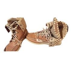 Sperry Top-Sider Tan Boots Lightly worn // great condition // soft leather // tan plaid // lace up // can roll top down if you please // wish these were my size they are so different and comfortable // price negotiable to reasonable offers Sperry Top-Sider Shoes Lace Up Boots
