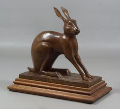 """Joel Tea, American, PA, late 20th c, Bronze Sculpture, """"Hare , dated 1985, numbered 9/30, 8 3/4"""""""