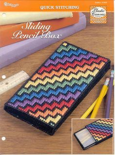 Sliding Pencil Box plastic canvas pattern by puddinpop on EtsyDiscover thousands of images about Bargello clutch :: test Plastic Canvas Ornaments, Plastic Canvas Crafts, Plastic Canvas Stitches, Plastic Canvas Patterns, Cross Stitch Embroidery, Cross Stitch Patterns, Pencil Boxes, Canvas Designs, Tissue Box Covers