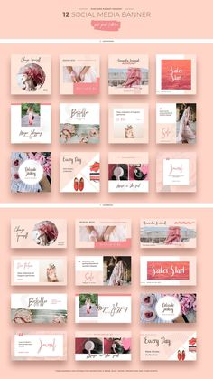 Ad: Stylish social media template promo banners for Facebook and Instagram made in feminine pink & peach colors. They can be used in different directions, for example: lifestyle, fashion, food, travel, blog, marketing or trend bloggers, creative studios, social network advertising campaigns or online marketing, product advertising. By Evatheme