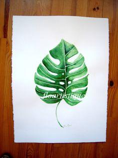 Aquarelle grande feuille verte - A encadrer : Peintures par floartistique