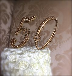 wedding cake topper 50th anniversary golden by TheCrystalFlower