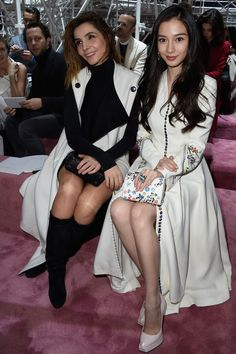(L-R) Clotilde Courau and Angelababy attend the Christian Dior show as part of Paris Fashion Week Haute Couture Spring/Summer 2015 on January 26, 2015 in Paris, France.