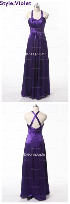 Scoop Satin Purple Bridesmaid Dress with Crisscross Back #Purple #Violet #Dresses