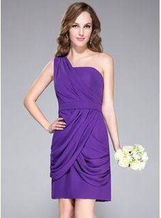 Bridesmaid Dresses - $103.99 - Sheath/Column One-Shoulder Knee-Length Chiffon Bridesmaid Dress With Lace  http://www.dressfirst.com/Sheath-Column-One-Shoulder-Knee-Length-Chiffon-Bridesmaid-Dress-With-Lace-007037176-g37176