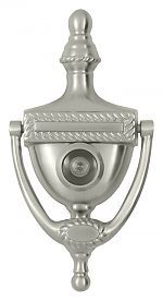 Deltana DKV6RU15 - Victorian Rope Door Knocker with 180° Door Viewer (Satin Nickel) - The Hardware Hut