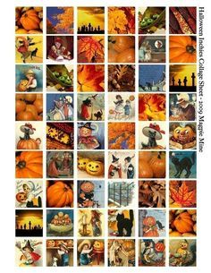 Halloween Collage Sheet - Vintage Bilder - druckbare 1 Zoll-Plätze - Herbst, Kürbisse, schwarze Katzen, Hexen, Kinder - digitaler Download