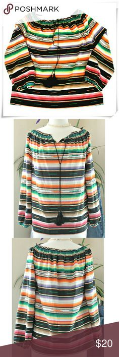 "Ralph Lauren Peasant top 🔸Straight fit. Raglan sleeves. Gathered around neck with elastic threads. Decorative tassels. Colors - black, orange, green, beige, pinks, purples, yellow. Worn couple of times,  like new  🔸Details: armpits 42"", length 22"", 100% polyester. 🔸Please use only ✔OFFER 👈 button for all price negotiations. Lauren Ralph Lauren Tops Blouses"